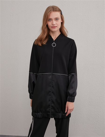 KYR Piece Detailed Bomber Jacket A20 73002 Black