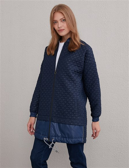 KYR Piece Detailed Quilted Jacket A20 73508 Navy