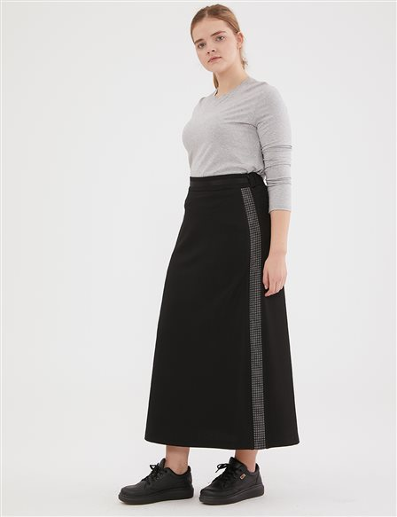 Goose Foot Detailed Skirt A20 12042 Black