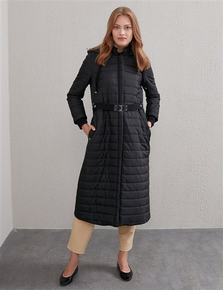Quilted Long Coat A20 27131 Black
