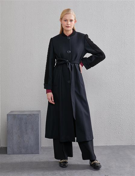 Knit Sleeves Trench Coat A20 25001 Black