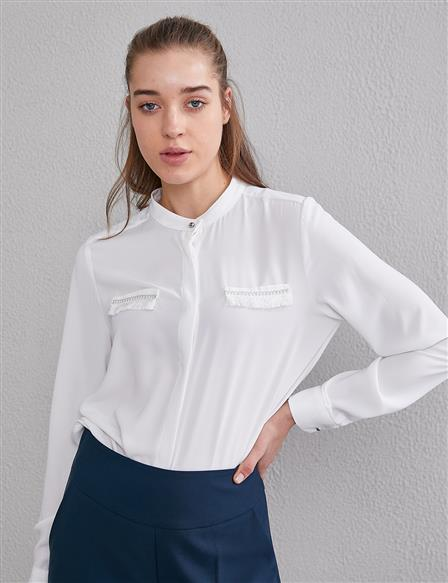 KYR Pocket Detailed Judge Collar Blouse A20 70003 White
