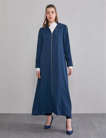 Long Trenchcoat With Hood A20 25016 Navy