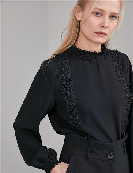 Stylish Blouse with Elastic Neck and Sleeve End A20 10029 Black