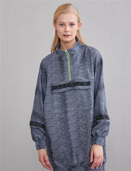 Pocket Detailed Zipper Collar Sweatshirt A20 31012 Gray