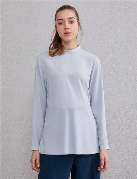 Basic Stand Collar Blouse SZ10500 Gray