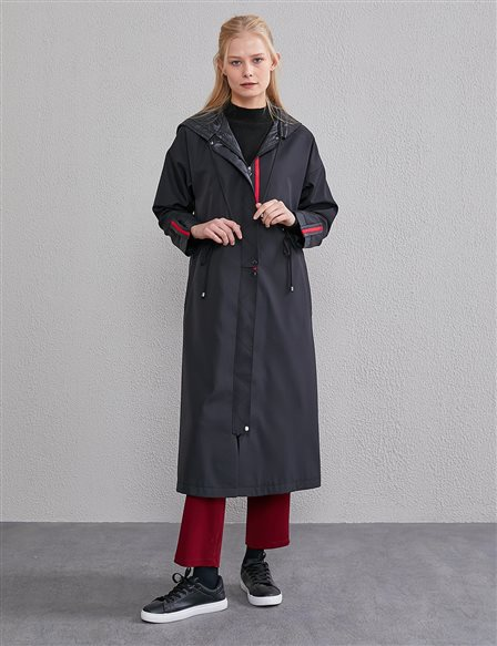 Hooded Trench Coat A20 14025 Siyah