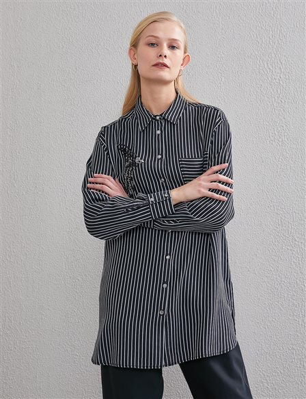Embroidered, Striped Shirt A20 11010 Black