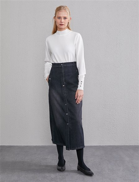 Denim Skirt with Pockets A20 12035 Black