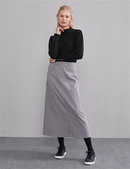 Canvas Skirt with Double Pocket A20 12039 Anthracite