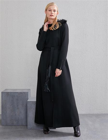 Furry Belted Long Coat A20 17016 Black