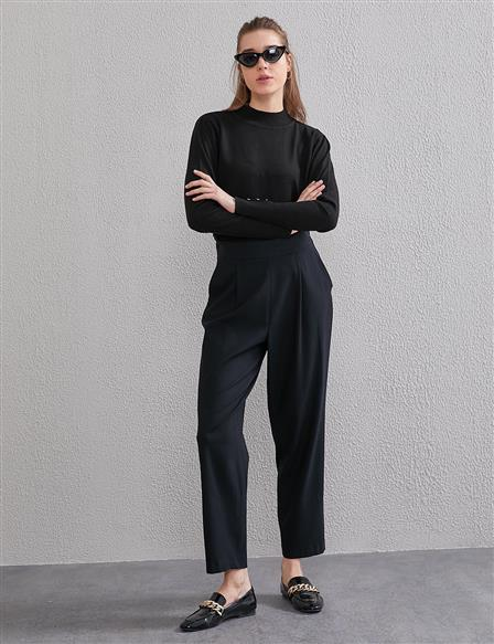 KYR Casual Fit Pleated Pants A20 79561 Black