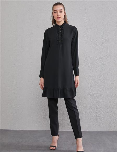 KYR Frill Detailed Tunic A20 81567 Black