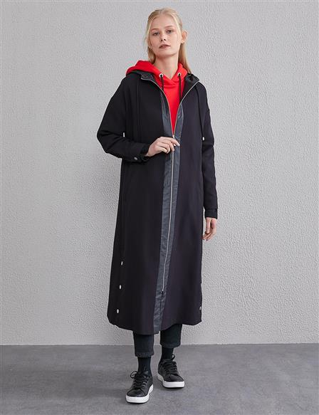 KYR Hooded Long Trench Coat A20 74006 Black