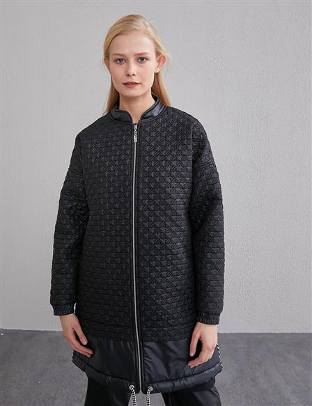 KYR Piece Detailed Quilted Jacket A20 73508 Black