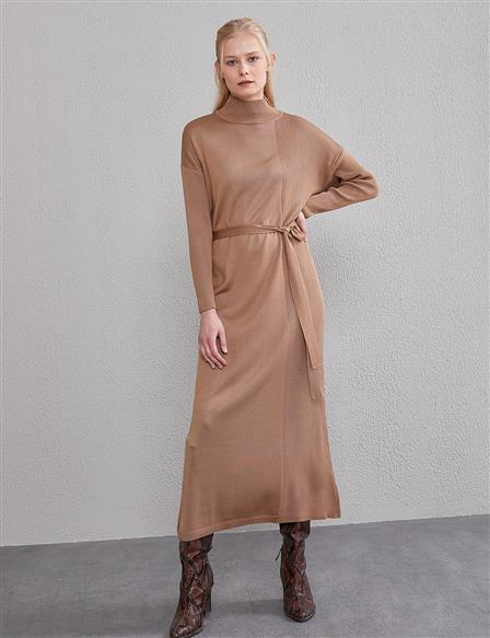 Belted Knit Dress A20 TRK30 Beige