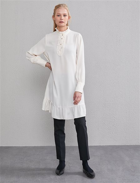 KYR Frill Detailed Tunic A20 81567 Cream