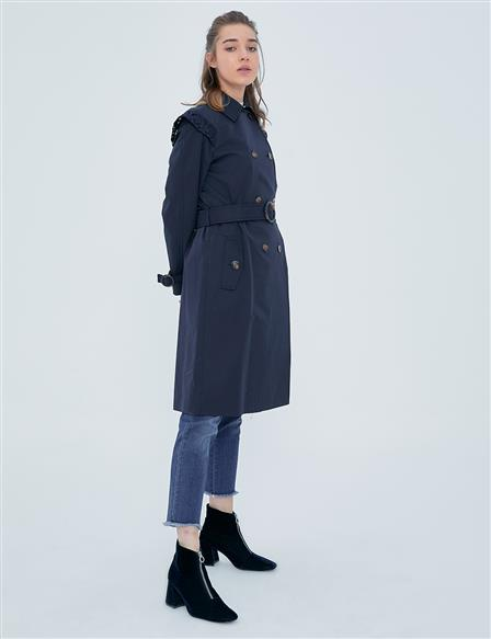 Shoulder Scalloped Trench Coat A20 14019 Navy