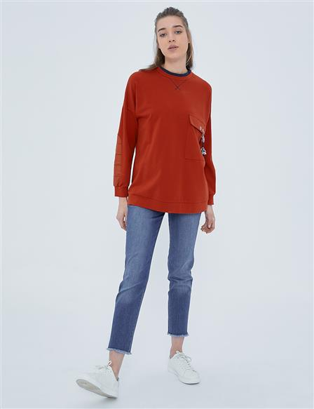 KYR Sweatshirt with Pocket Detailed A20 81511 Tile