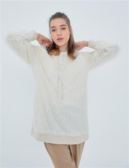 Feathered Rope Sweatshirt with Hood A20 31011 Ecru