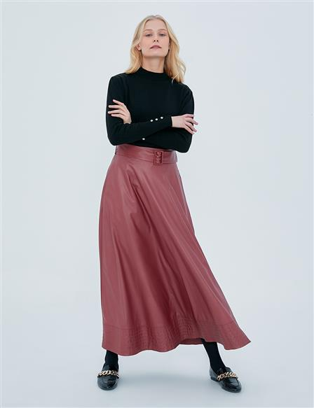 High Waist Faux Leather A-line Skirt A20 12037 Tile