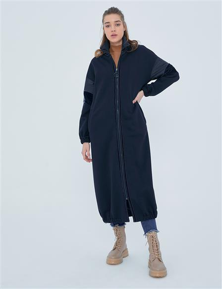 Striped Trench Coat A20 25100 Navy