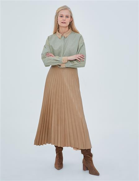 Artificial Leather Skirt Beige A20 12038
