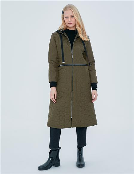 KYR Casual Fit Quilted Coat A20 77002 Khaki