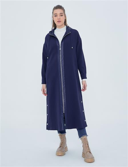 KYR Hooded Long Trench Coat A20 74006 Navy