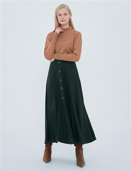 Wool Skirt with Buttons A20 12061 Khaki