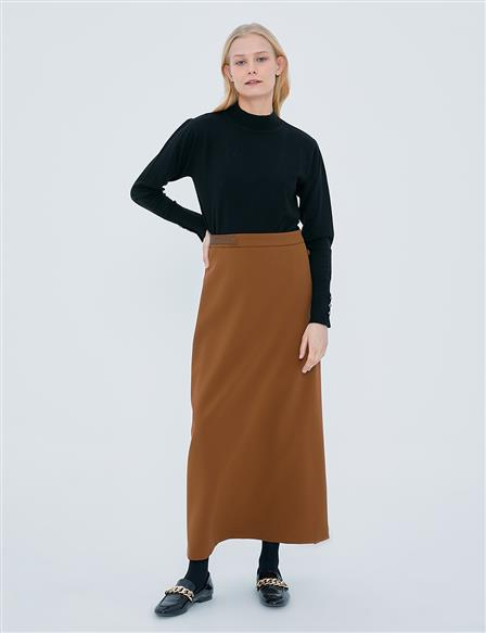 Button Detailed Skirt A20 12044 Brown