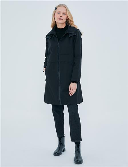 Zipper Closure Coat A20 24013 Black