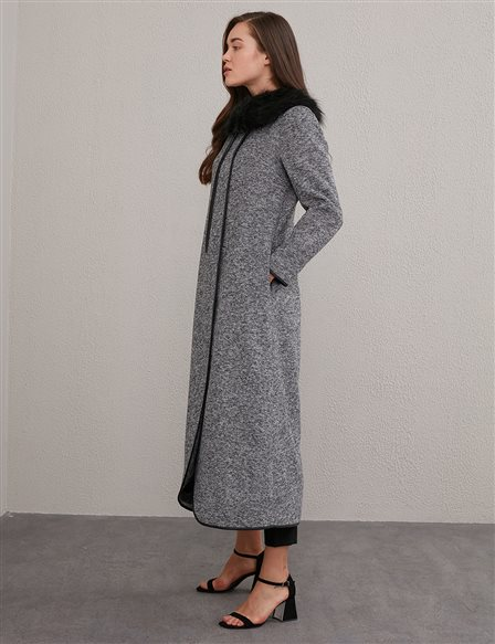 Piped Flecked Pattern Wool Trench Coat A20 25126 Grey