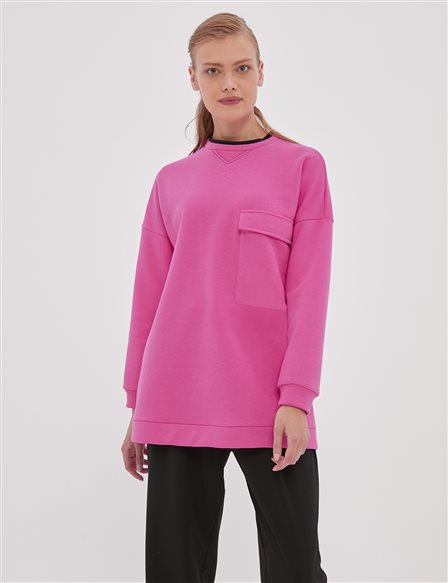 Pocket Detailed Sweatshirt A20 21253 Fuchsia