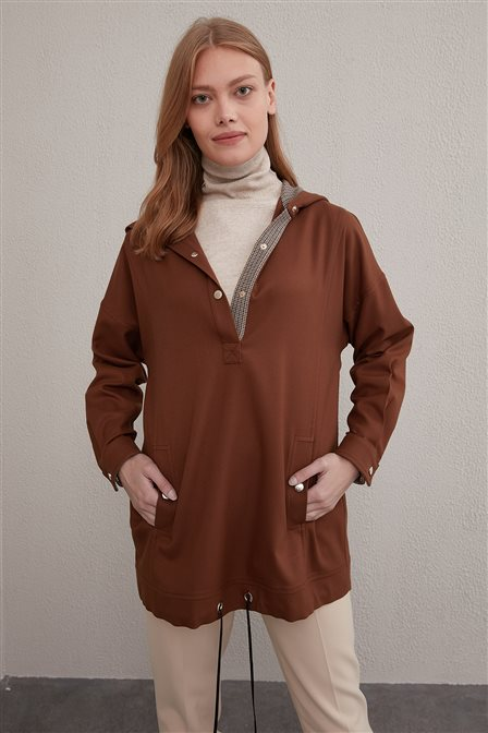 Snap Button Sweatshirt A20 31017 Brown
