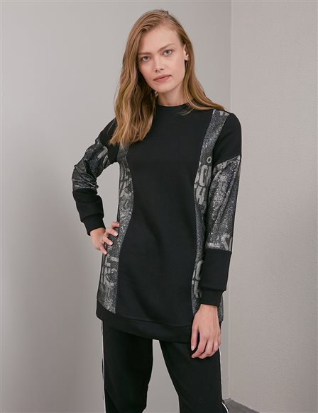 Printed Zero Collar Tunic A20 21270 Black