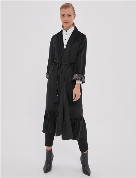 Embroidered Short Trench Coat A20 25124 Black