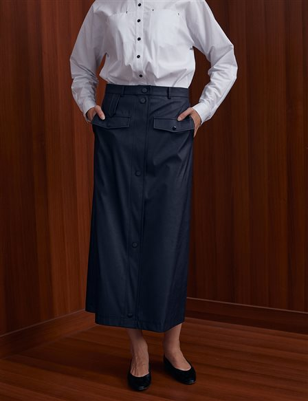 KYR Pocket and Button Detailed Skirt A20 72053 Navy
