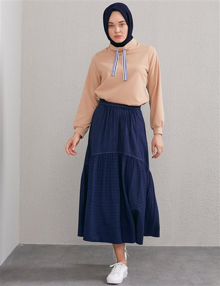 Striped Flowy Skirt A20 12051 Navy