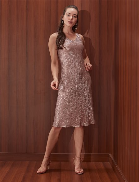 Stamp Sequined Dress B20 23062 Powder