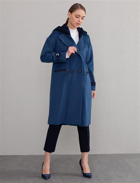 Hooded Cachet Coat A9 17003 Navy