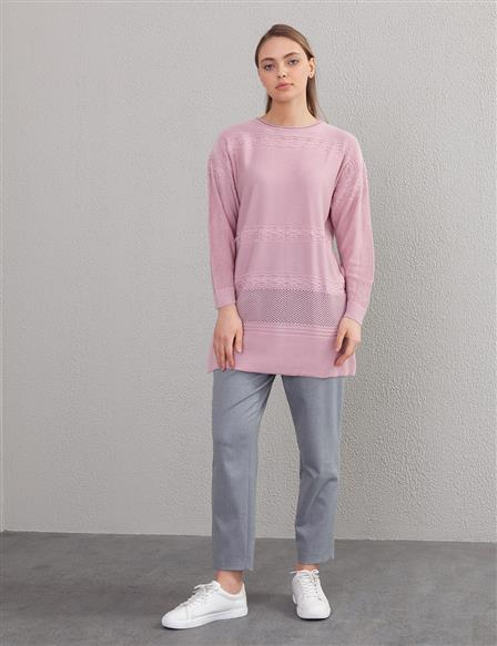 Mesh Detailed Knit Tunic B9 TRK11 Powder