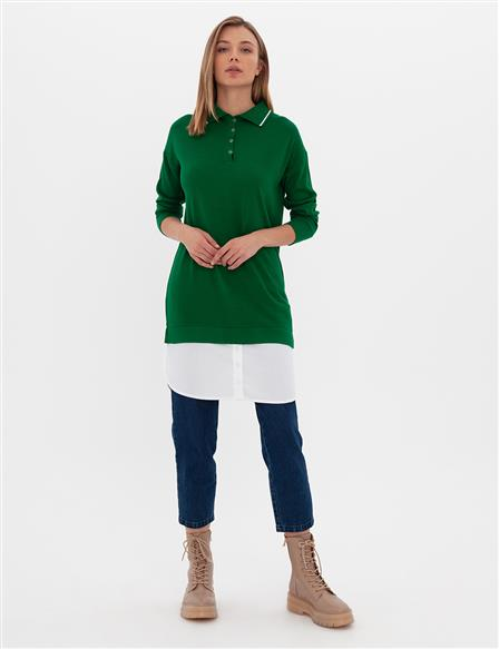 Layer Detailed Knit Tunic B9-TRK02 Green