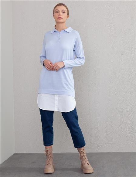 Layer Detailed Knit Tunic B9-TRK02 Blue