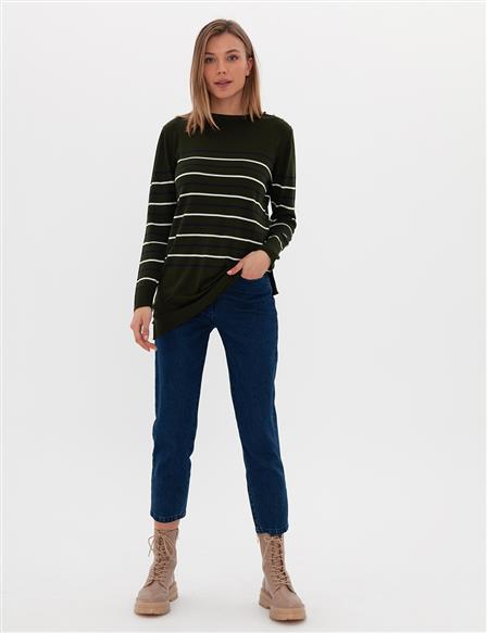 Striped Knit Tunic B9 TRK01 Khaki