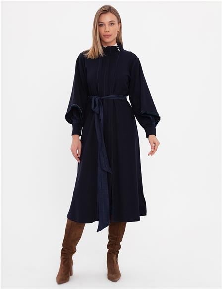 Tassel Detailed Belted Trench Coat A9 25017 Navy