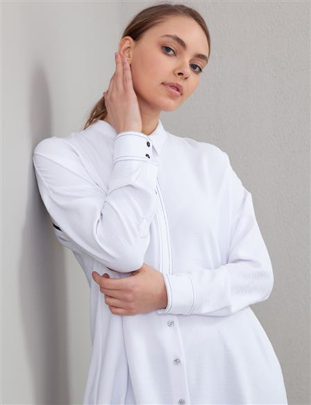 Contrast Stitching Judge Collar Tunic A20 21106 White