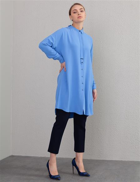 Contrast Stitching Judge Collar Tunic A20 21106 Blue