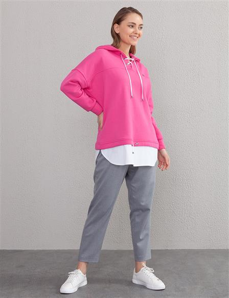 Lace-Up Sweatshirt A20 31009 Fuchsia