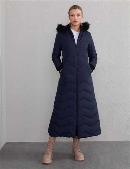 Quilted Long Coat A20 27101 Navy